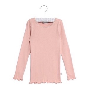 Wheat - Rib T-Shirt Lace LS, Misty Rose