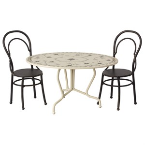Maileg - Dining Table Set, Mini - Anthracite