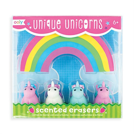 OOLY - Unique Unicorn Strawberry Scented Erasers, sæt m. 5 stk.