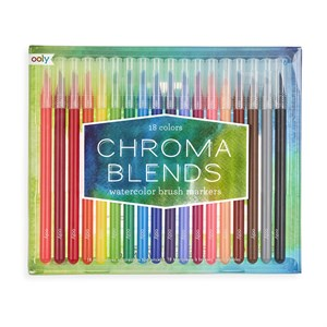 OOLY - Chroma Blends Watercolor Brush Markers, 18 stk.