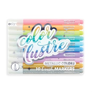 OOLY - Color Lustre Metallic Brush Tuscher, 10 stk.