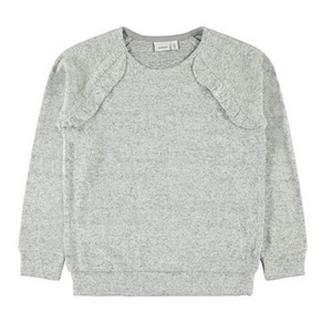 Name it - Victa LS Strikbluse, Light Grey Melange