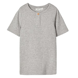 Name It - Jacob Slim Top / T-shirt SS, Grey Melange