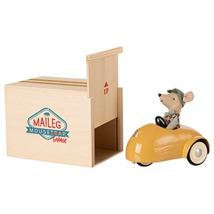 Maileg - Mouse Car W. Garage, Yellow