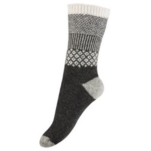 Melton - Wool Sock - Girly W. Lurex, Dark Grey Melange