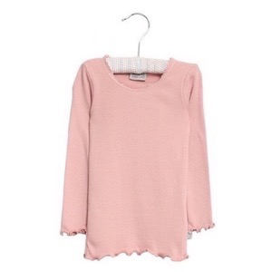 Wheat - Rib T-Shirt Lace L/S, Misty Rose