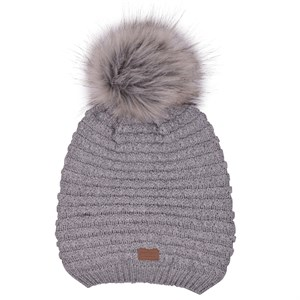 Melton - WOOL Hat w. Pom Pom, Light Grey Melange