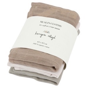 Konges Sløjd - 3 Pack Muslin Cloths / Stofbleer, Rose Dust