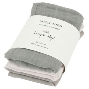 Konges Sløjd - 3 Pack Muslin Cloths / Stofbleer, Lime Stone