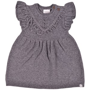 PAPFAR - Frill Knit Dress, Dark Grey Melange