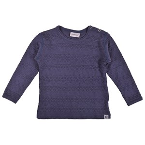 Papfar - Uld Bubble Strikbluse LS, Blue Nights