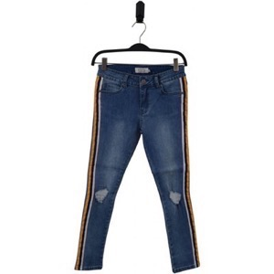 HOUNd Girl - Paint Jeans W. Side Stripe Tape, Blue Denim