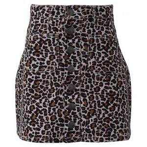 HOUNd Girl - Button Denim Skirt, Leopard