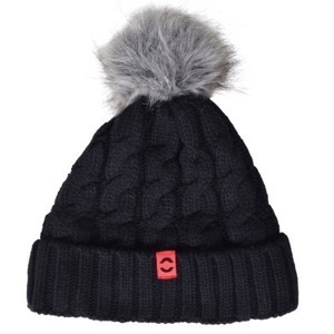 Mikk-Line - Lamb Wool Hat W. Fake Fur Pom, Black