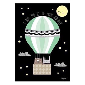 Elina Studio Luftballon - To the moon and back - plakat A3
