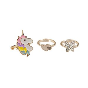 Great Pretenders -  Butterfly & Unicorn Fingerringe, Sæt Med 3 stk.