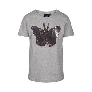 Petit By Sofie Schnoor - Butterfly T-shirt SS, Light Grey Melange