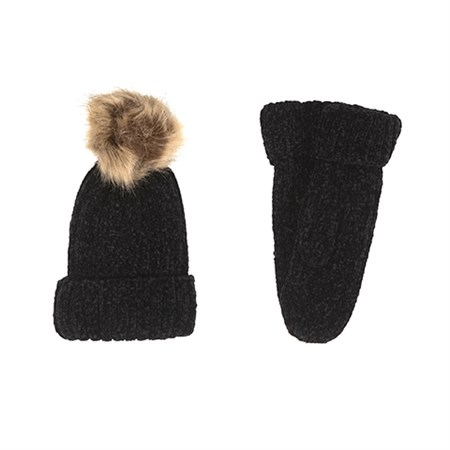 Petit By Sofie Schnoor - Knit Set (Hue og luffer), Black