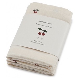 Konges Sløjd - 3 Pack Muslin Cloths / Stofbleer, Cherry