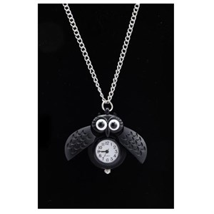 Höjtryk - Necklace Watch Metal w Owl, Matte Black